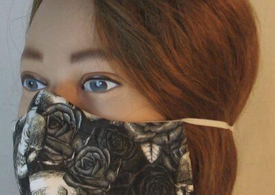 Face Mask in Black White Skull Roses-left