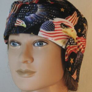Welding Cap in Red White Blue Flags Eagle Head Eagle Flying-front