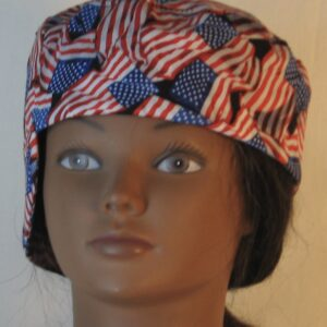 Welding Cap in Red White Blue Wavy Flag on Black-front