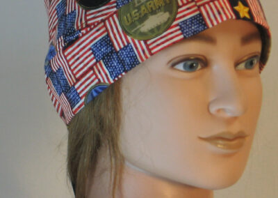 Do Rag in Military Branch Discs ON Flags in Red White Blue - front right