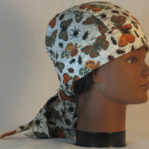 Hair Bag in Gray Orange Brown Butterflies Spiders Insects on Cream - right