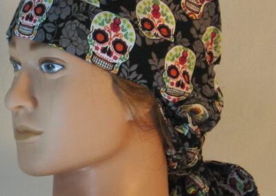 Hair Bag in Sugar Skulls with Gray Flowers on Black - left