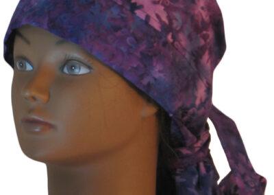 Hair Bag in Purple Leaves Vines Batik - left white