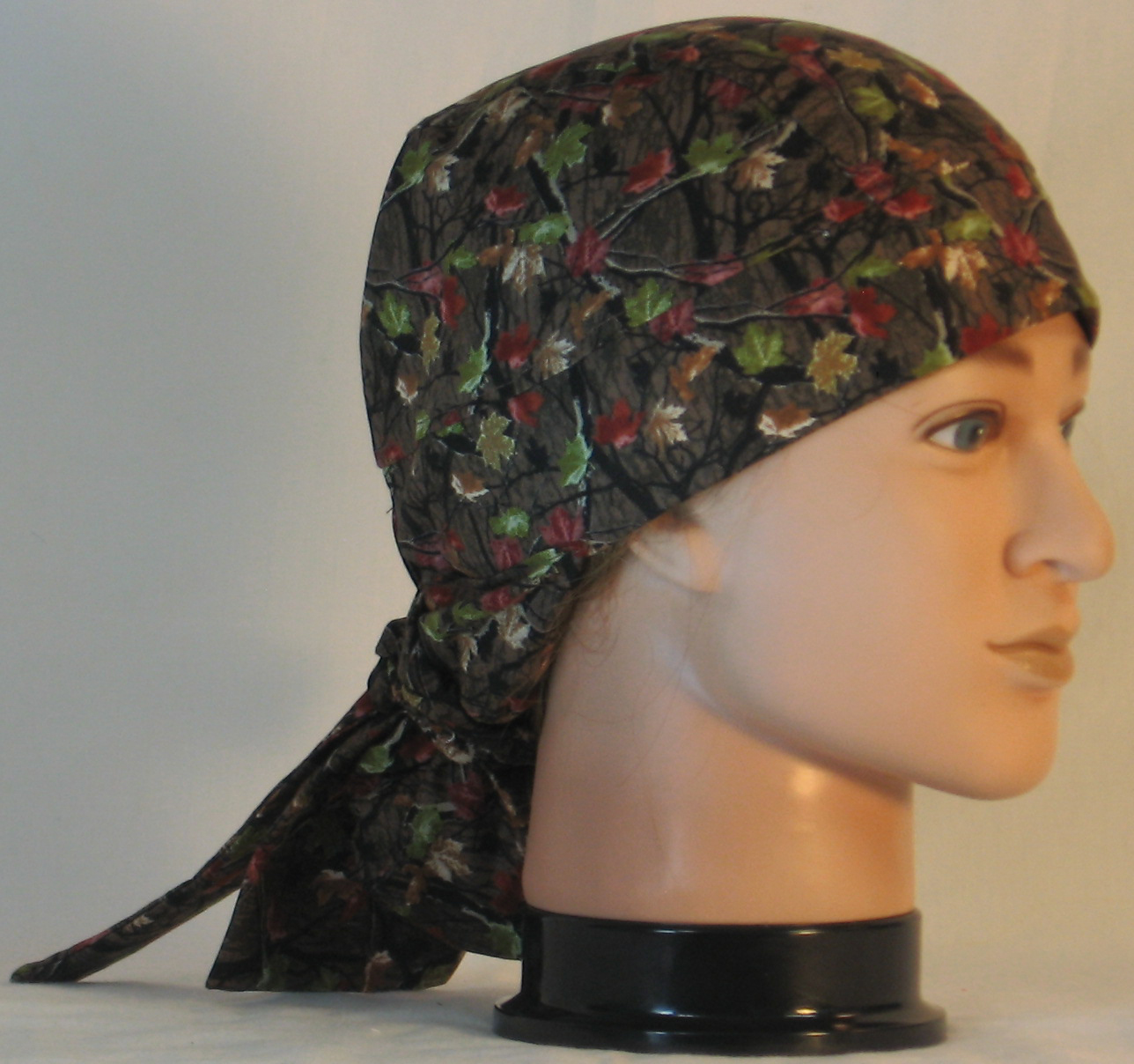 Hair Bag in Fall Leaves Camo on Brown - right