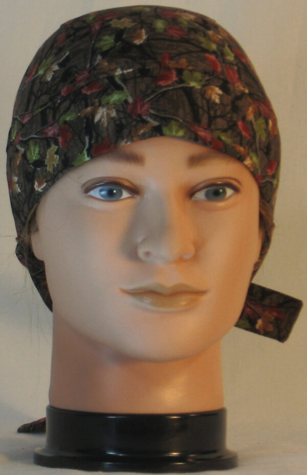 Hair Bag in Fall Leaves Camo on Brown - front