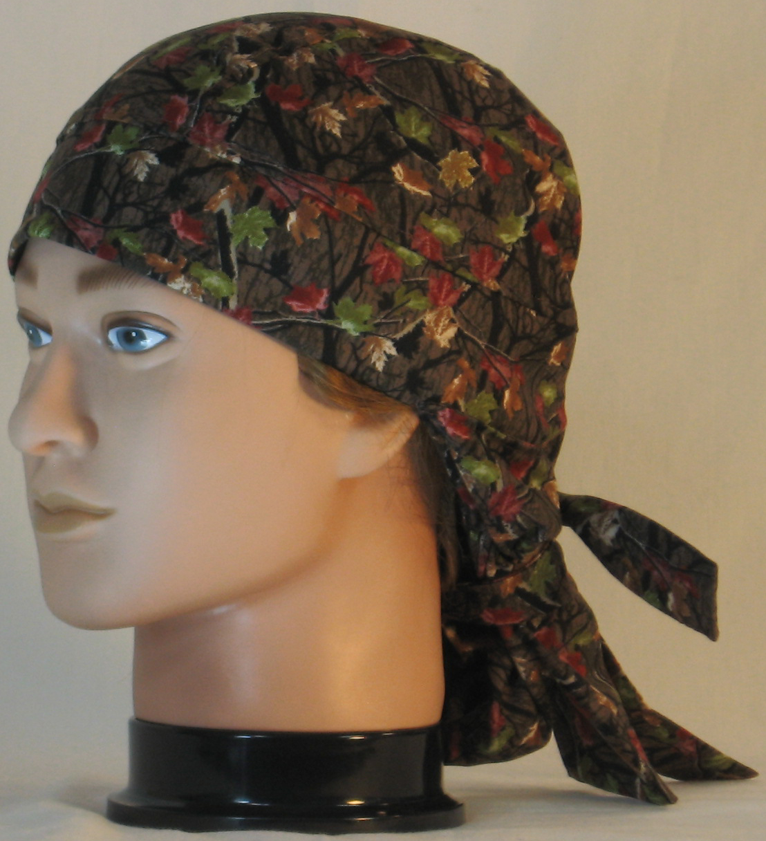 Hair Bag in Fall Leaves Camo on Brown - left