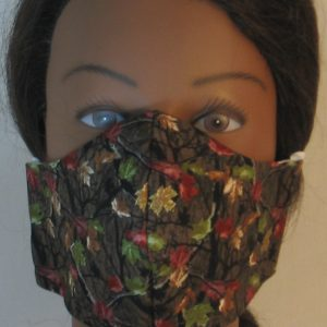 Face Mask in Fall Leaves Camo on Brown - front