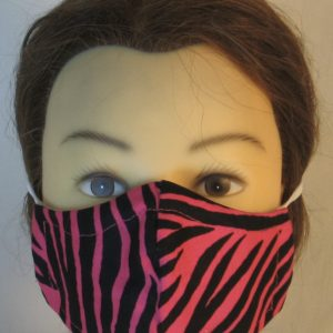 Face Mask in Pink Zebra- front