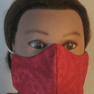 Face Mask in Rose Pink Flower Doily - front