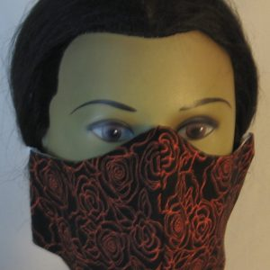 Face Mask in Orange Line Roses on Black - front