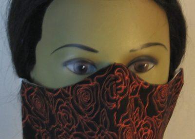 Face Mask in Orange Line Roses on Black - front