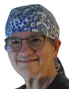 Hair Bag in Blue Purple Gray Indian Folk print like flower paisley - model white