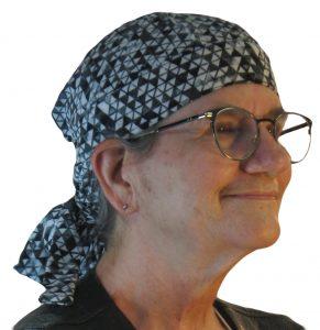 Hair Bag in Black White Gray Triangles - model white