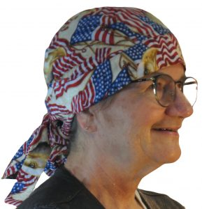 Hair Bag in Patriotic US Flag and Eagle Head on Cream - model white