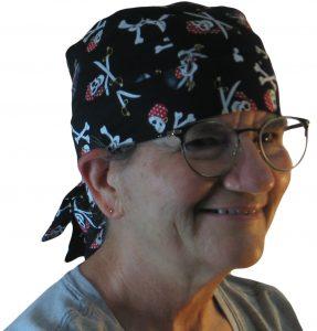 Hair Bag in Black Pirate Skulls - model white