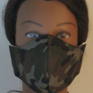 Face Mask in Olive Green Brown Black Camo - front