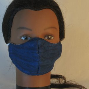 Face Mask in Black on Blue Wood - front