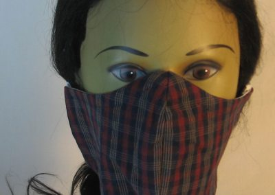 Face Mask in Navy Burgundy Red Yellow Plaid - front