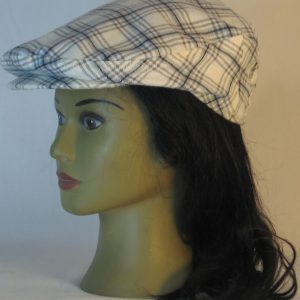 Ivy Flat Cap in Gray Black Grid Plaid on Ivory Flannel - left