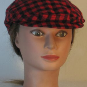 Ivy Flat Cap in Black Red Check Flannel - front