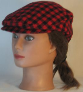 Ivy Flat Cap in Black Red Check Flannel - front left