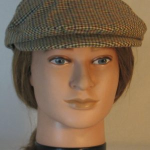Ivy Flat cap in Blue Green Red Check Homespun - front