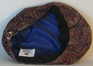 Ivy Flat Cap in Blue Burgundy Peach Paisley Curves on Tan Corduroy - bottom