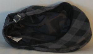Ivy Flat Cap in Black Gray Big Check Flannel - bottom