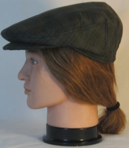 Ivy Flat Cap in Green Dark Forest Green Plaid Shirting - left