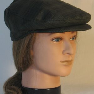 Ivy Flat Cap in Green Dark Forest Green Plaid Shirting - right