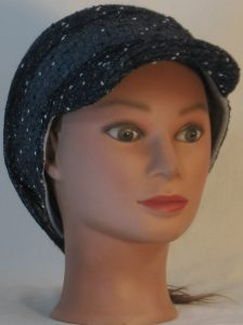 Slouchy Beanie in Navy with Black White Vintage Sweater Knit - front