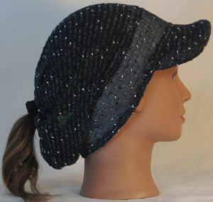 Slouchy Beanie in Navy with Black White Vintage Sweater Knit - right