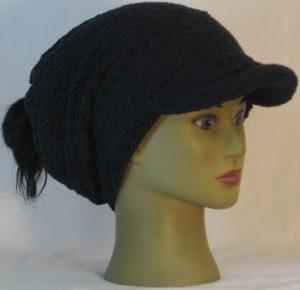 Slouchy Beanie in Black Arrowhead Weave in Ridges Sweater - right