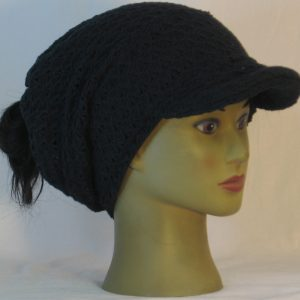Slouchy Beanie in Black Arrowhead Weave in Ridges Sweater - right