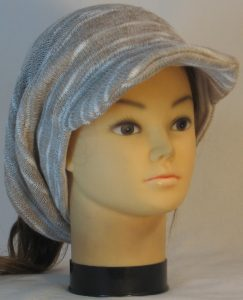 Slouchy Beanie in Khaki Cream Variegated Sweater Knit - front right
