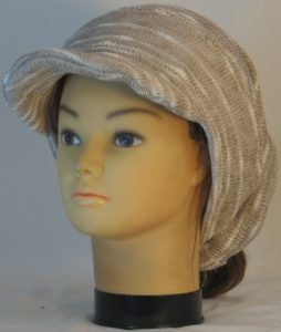 Slouchy Beanie in Khaki Cream Variegated Sweater Knit - front left