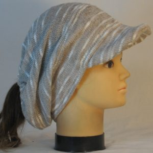Slouchy Beanie in Khaki Cream Variegated Sweater Knit - right