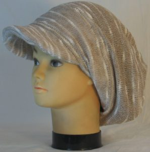 Slouchy Beanie in Khaki Cream Variegated Sweater Knit - left hair
