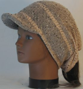 Slouchy Beanie in Taupe with Black White Vintage Sweater Knit - left