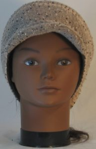Slouchy Beanie in Taupe with Black White Vintage Sweater Knit - front