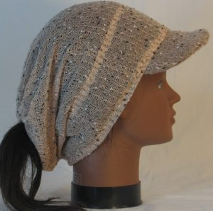 Slouchy Beanie in Taupe with Black White Vintage Sweater Knit - right