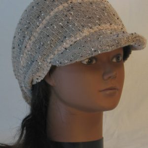 Slouchy Beanie in Taupe with Black White Vintage Sweater Knit - front right
