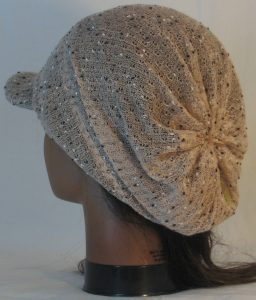 Slouchy Beanie in Taupe with Black White Vintage Sweater Knit - back left