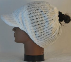 Slouchy Beanie in White Drop Needle Checkerboard Jersey Sweater Knit - left