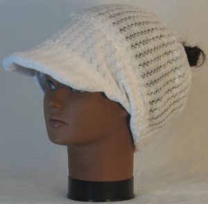 Slouchy Beanie in White Drop Needle Checkerboard Jersey Sweater Knit - front left