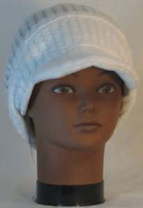 Slouchy Beanie in White Drop Needle Checkerboard Jersey Sweater Knit - front 2