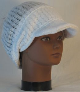 Slouchy Beanie in White Drop Needle Checkerboard Jersey Sweater Knit - front right