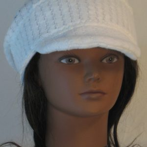 Slouchy Beanie in White Drop Needle Checkerboard Jersey Sweater Knit - front