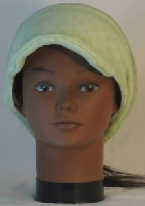 Slouchy Beanie in Small Flower Dot Green Lace on White Fleece - front