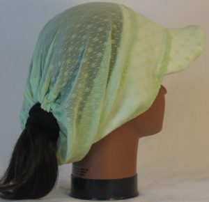 Slouchy Beanie in Small Flower Dot Green Lace on White Fleece - right back